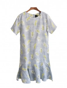 <BR> Feather Plum page printing Linen Dress <BR><BR> [Return and exchanged products;