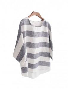 <br> Flat Stripe Linen Blouse <br><br>