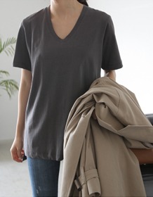 Cotton V-neck Long t