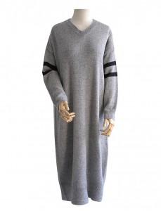 <br> Double-line V-neck Long Dress <br><br>