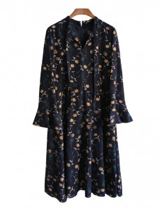 <br> Dandelion printing Ribbon Neck Dress <br><br>