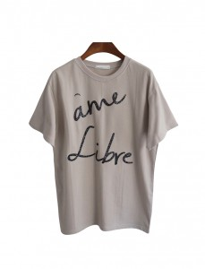 <br> Rib shiny lettering Tee <br> <b><font color=#253952>T-shirt 2 above product</font></b>