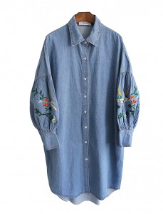 <br> Retail Embroidery Denim Long Shirt <br><br>