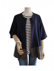 <br> Linen color combination Ruffle Jacket <br><br>