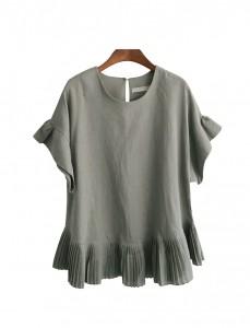 <br> Pleats Linen Blouse <br><br>