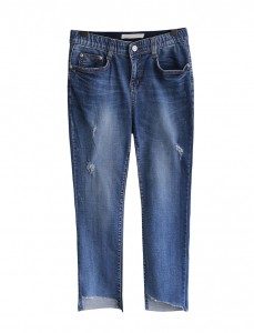 <br> Uncut Cutting in Banding Denim Pants <br><br>