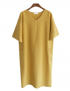 <br> V-Line Linen to Pocket Dress <br> <b><font color=#253952>Dress 4</font></b>