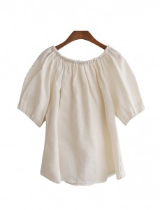 <br> Banding bowknot Linen Blouse <br><br>