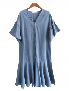 <br> Vernis Linen Freel Button Dress <br><br>