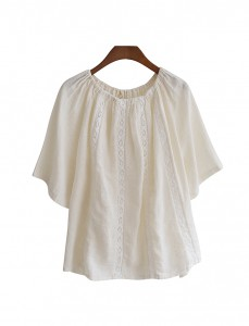 <BR> Race Neck Banding Blouse <BR> [Not returned or exchanged;
