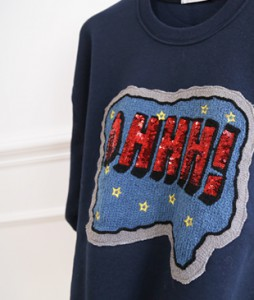 <br> Spangle Lettering Man to man Tee <br><br>