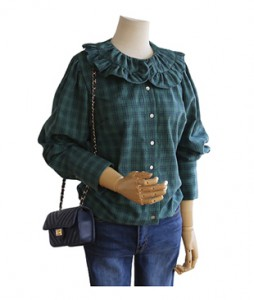 <br> Green Ruffle Neck Blouse <br><br>