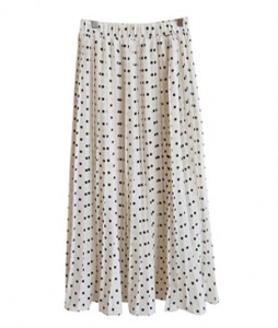 <br> Calm Pleats Dot Banding Skirt <br><br>