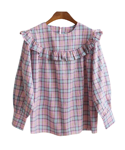 <br> Pink Check Freel Blouse <br><br>