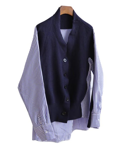 <br> Stripe Shirt Cardigan <br> <b><font color=#253952>Cardigan & Knit 4th place</font></b>