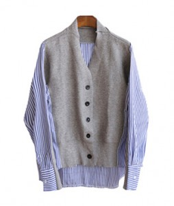 <br> Stripe Shirt Cardigan <br> <b><font color=#253952>Knit first place items</font></b>