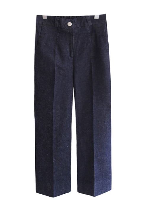 <br> unique wide rear banding Denim Pants <br><br>
