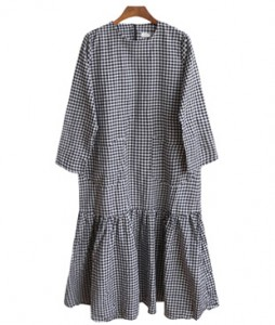 <br> Checking 2 Pocket Long Dress <br><br>