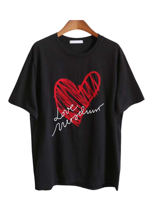 <br> heart embroidery Tee <br><br>