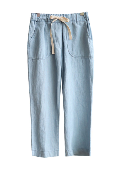 <br> string Linen Denim Banding Pants <br> [Not returned or exchanged;
