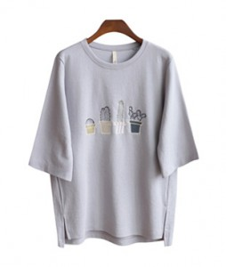 <br> Cactus embroidery Tee <br> [Gray, May 16 Estimate storage]