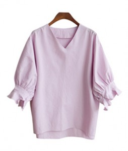 <br> Ruffle sleeve V-neck Blouse <br> [Not returned or exchanged;