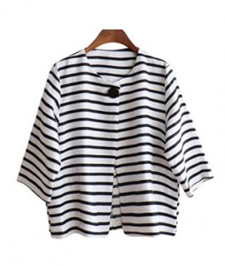 <br> Stripe One Button Linen Jacket <br> [Not returned or exchanged;
