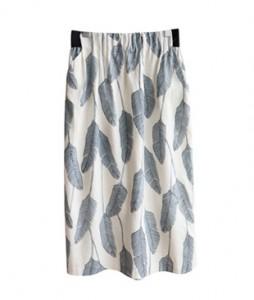 <br> leaf Banding Linen Skirt <br><br>