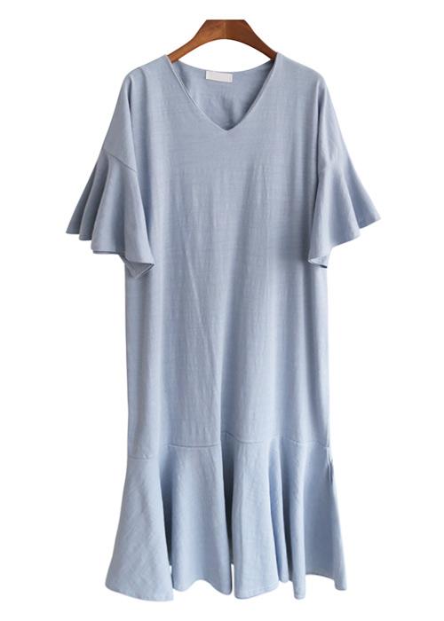 <br> V-neck Freel Long Dress <br><br>