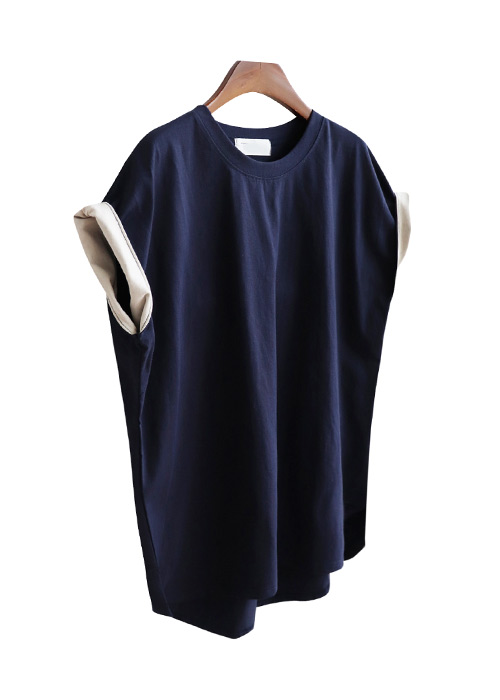 <br> two-way sleeve color Tee <br><br>