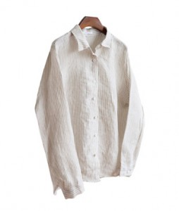 <br> chic Stripe Linen Southern <br> <b><font color=#253952>4th place blouse</font></b>