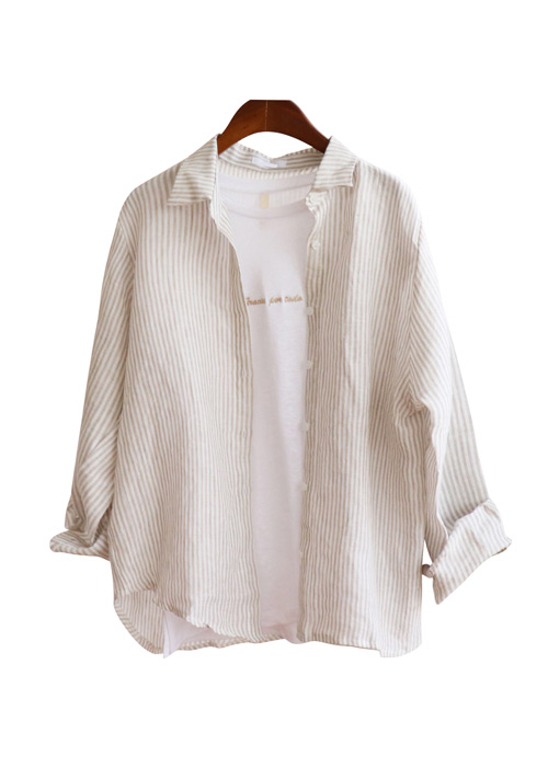 <br> chic Stripe Linen Shirt <br><br>