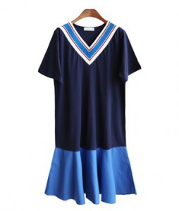 <br> Blue shibori V-neck Dress <br><br>