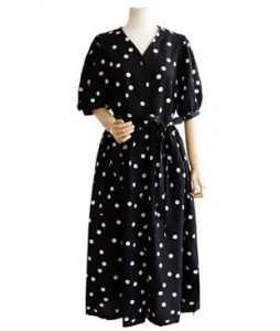 <br> Puff Sleeve Dot Long Dress <br> [Not returned or exchanged;