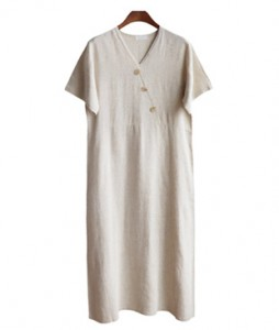 <br> Button Wrap Linen Dress <br><br>
