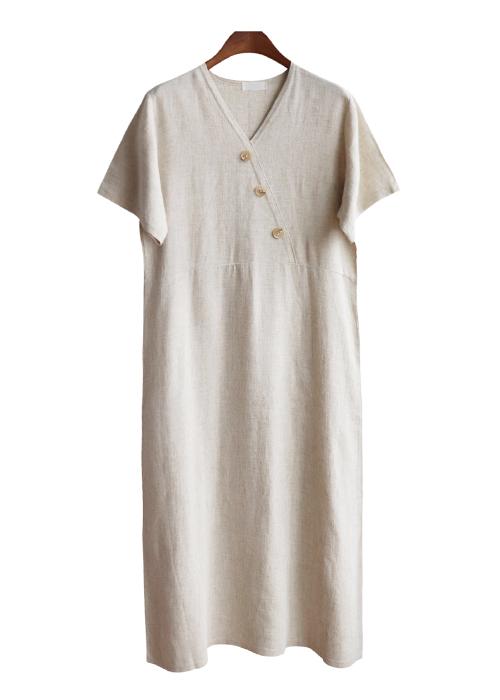 <br> Button Wrap Linen Dress <br><br>
