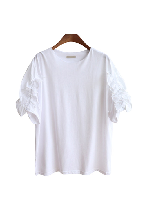 <br> Hazel Sleeve Shirring Tee <br> [Not returned or exchanged;
