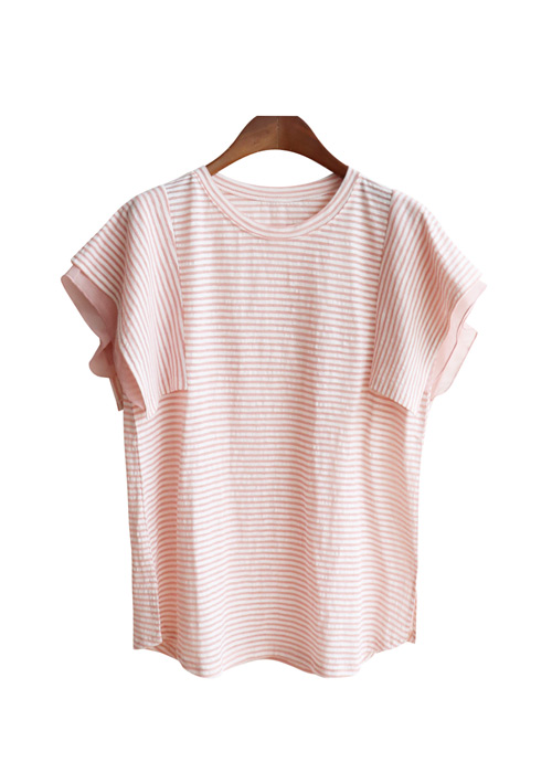 <br> Chiffon color combination Stripe Tee <br><br>