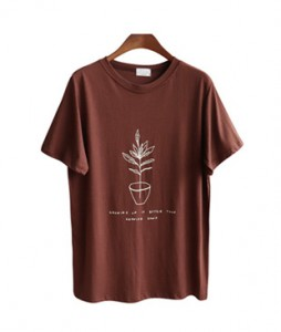 <br> Flowerpot printing Tee <br> [Not returned or exchanged;