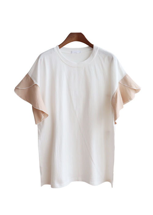<br> Wave ruffle color combination Tee <br><br>