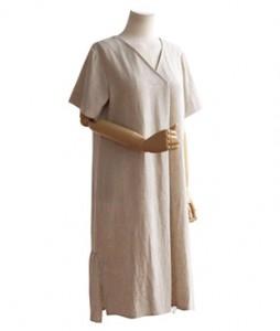 <br> Course Back Shirring V-neck Dress <br><br>