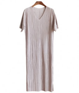 <br> Pleats V-neck Dress <br><br>