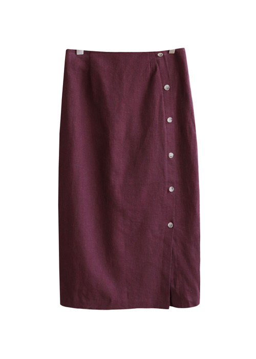 <br> Maybutton side zipper Long Skirt <br> [Not returned or exchanged;
