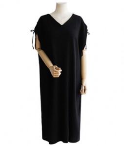 <br> Shoulder string Shirring Dress <br> [Not returned or exchanged;