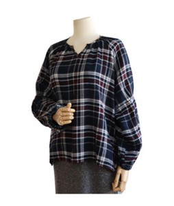 <br> Sleeve Banding Check Blouse <br><br>