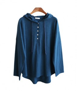 <br> Donna Button Slope Hood Tee <br><br>