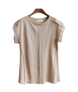 <br> feminine Shoulder Race Linen Tee <br> [Not returned or exchanged;