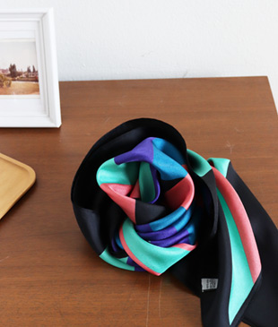 <br> Color Block Silk Scarf <br><br>