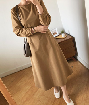 <br> Plain Aline Cotton Dress <br><br>