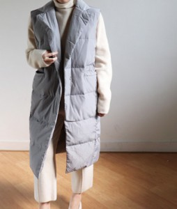<br> Gray Goose down Long Padding Vest <br><br>